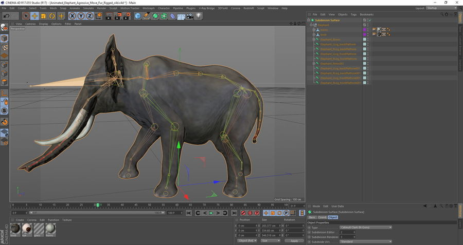 Animated Elephants Collection för Cinema 4D royalty-free 3d model - Preview no. 30