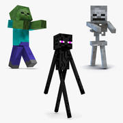 Minecraft Characters Rigged Collection för Maya 3d model