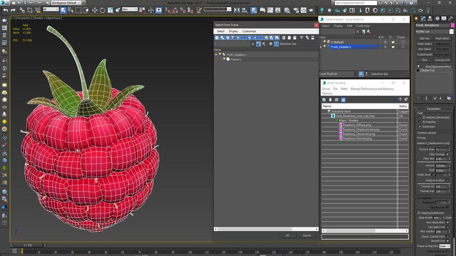 Fresh Cartoon Raspberry royalty-free 3d model - Preview no. 15