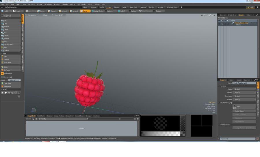 Fresh Cartoon Raspberry royalty-free 3d model - Preview no. 19