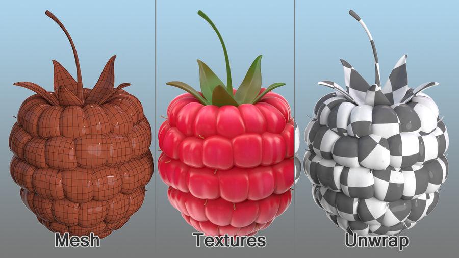 Fresh Cartoon Raspberry royalty-free 3d model - Preview no. 10