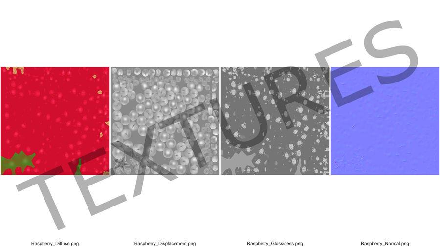 Fresh Cartoon Raspberry royalty-free 3d model - Preview no. 14