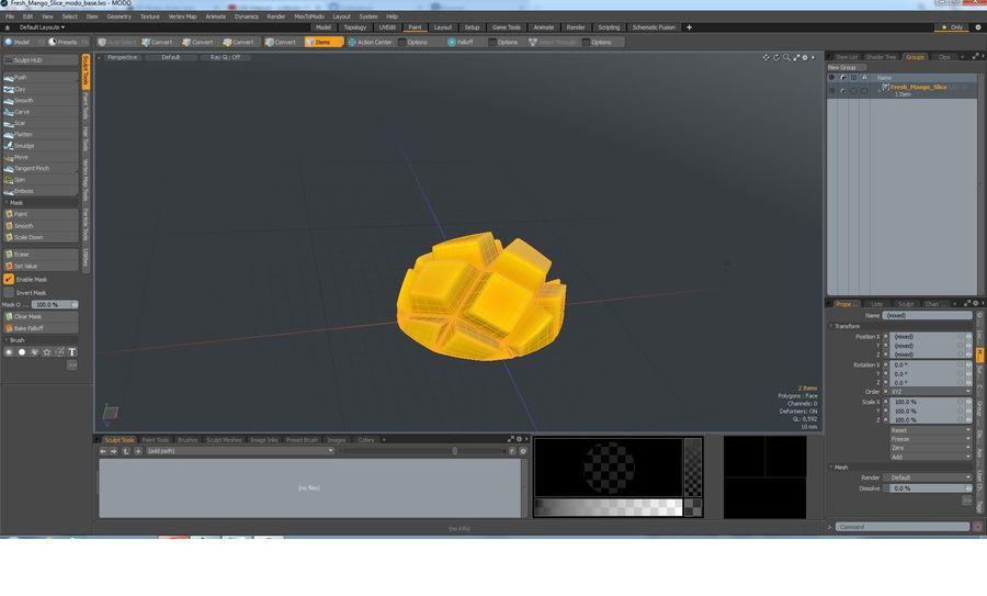 Fresh Mango Slice royalty-free 3d model - Preview no. 18