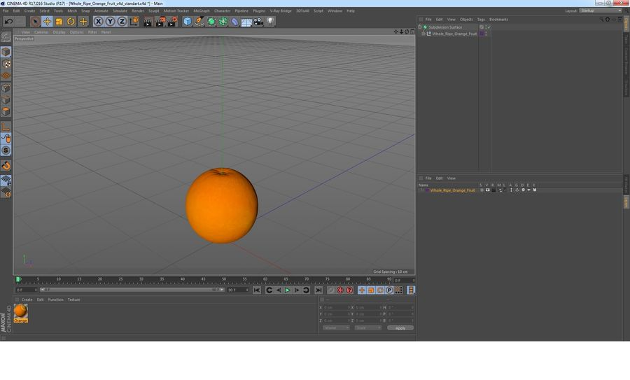 Whole Ripe Orange Fruit Cartoon royalty-free 3d model - Preview no. 15