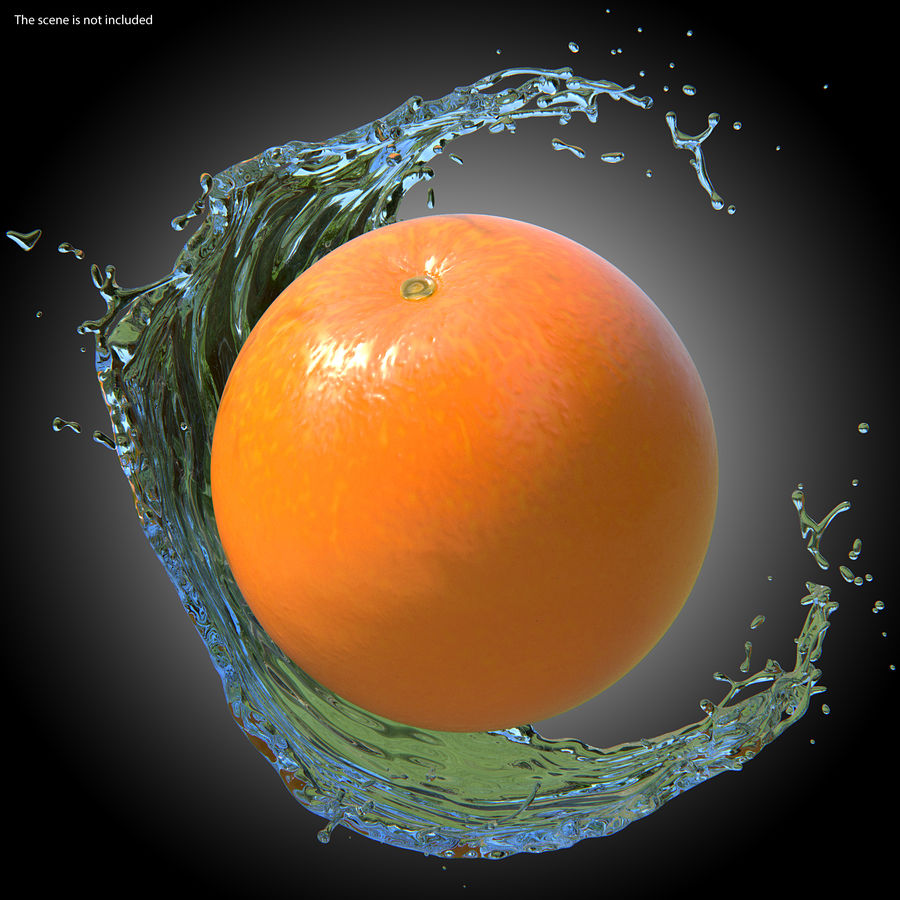 Whole Ripe Orange Fruit Cartoon royalty-free 3d model - Preview no. 3