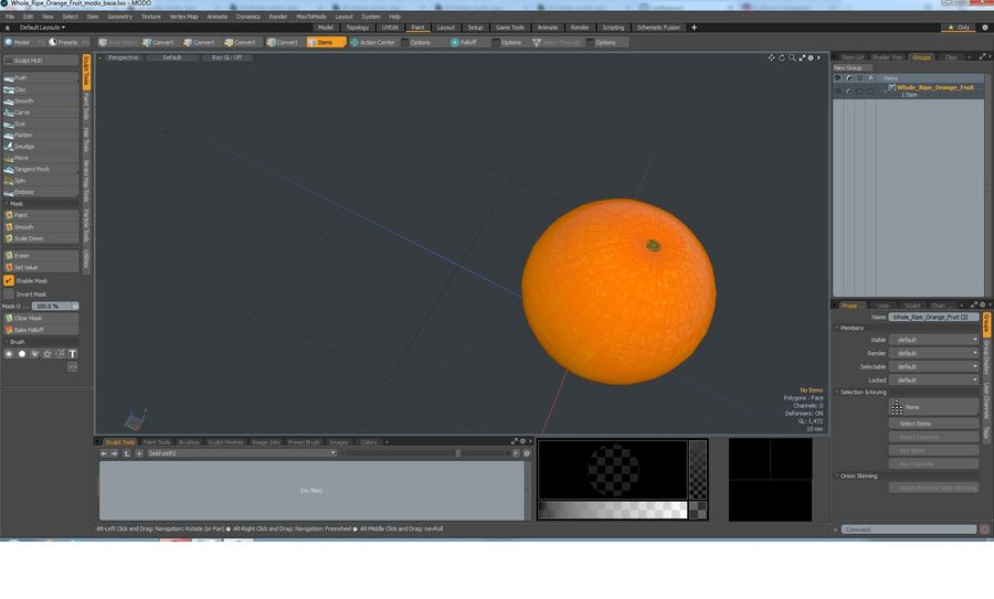 Whole Ripe Orange Fruit Cartoon royalty-free 3d model - Preview no. 16