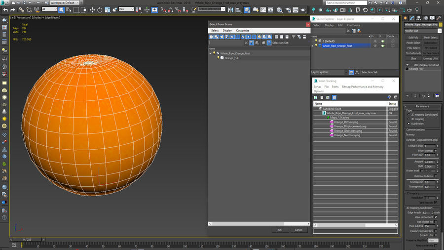 Whole Ripe Orange Fruit Cartoon royalty-free 3d model - Preview no. 13