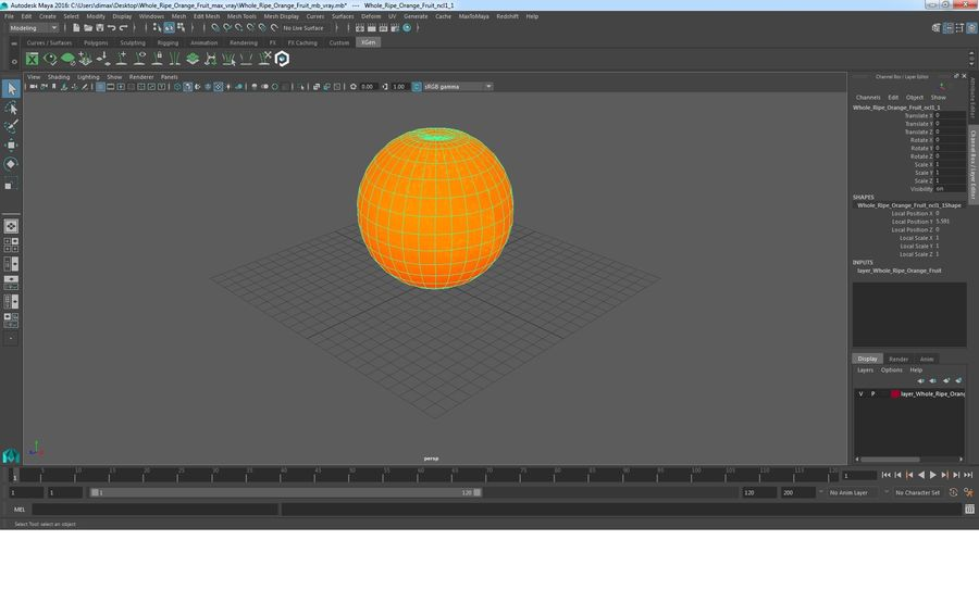 Whole Ripe Orange Fruit Cartoon royalty-free 3d model - Preview no. 17