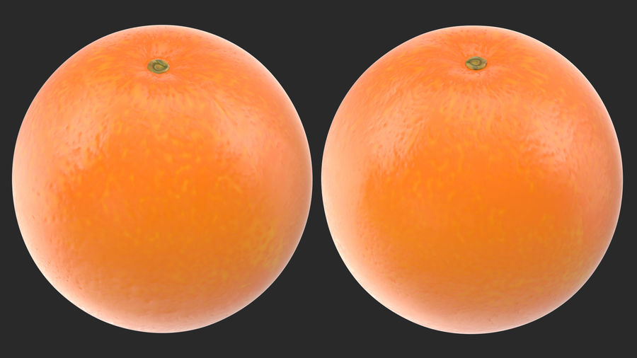 Whole Ripe Orange Fruit Cartoon royalty-free 3d model - Preview no. 4