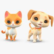 卡通猫狗小狗包 3d model