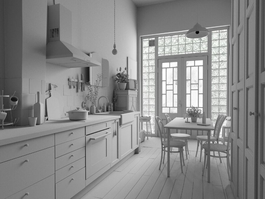 Une Cuisine (Kitchen) royalty-free 3d model - Preview no. 15
