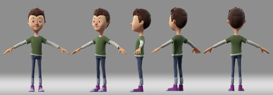 cartoon jongen kind kind royalty-free 3d model - Preview no. 1