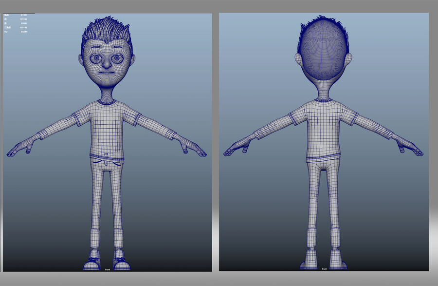 cartoon jongen kind kind royalty-free 3d model - Preview no. 6