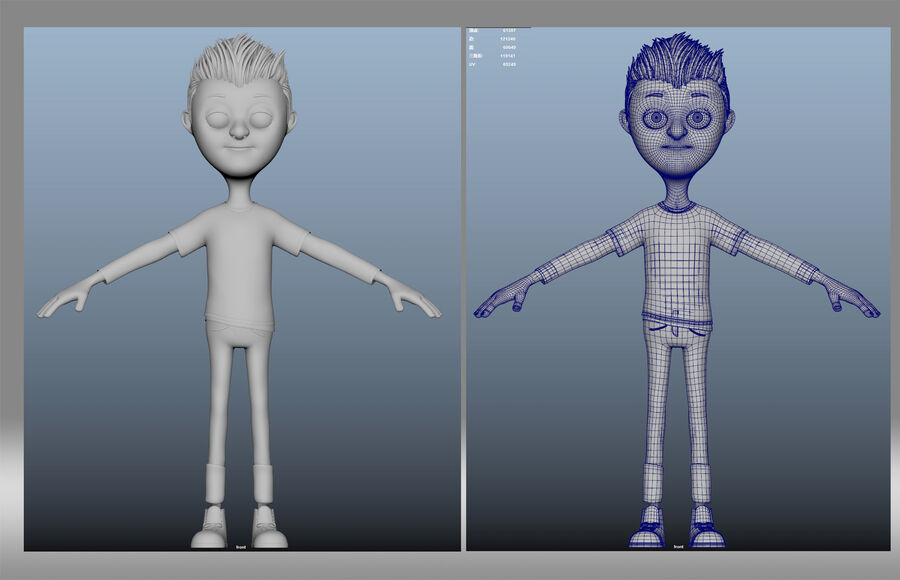 cartoon jongen kind kind royalty-free 3d model - Preview no. 5