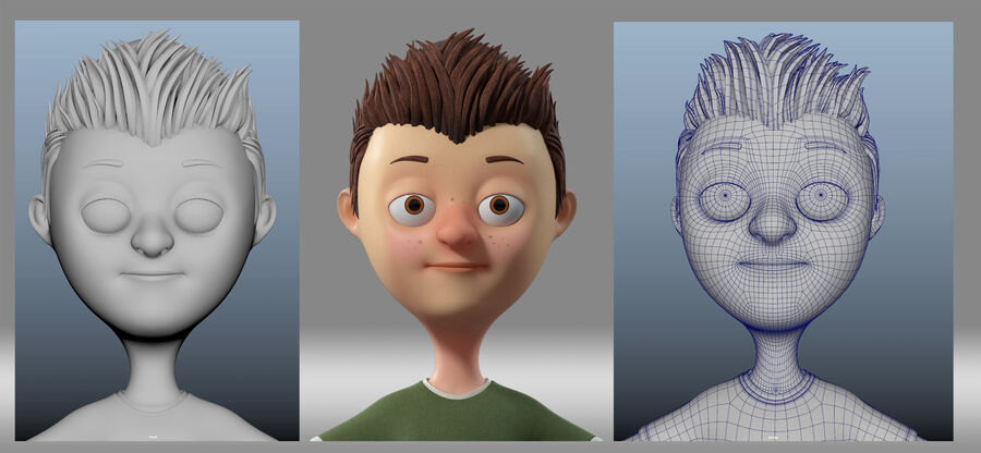 cartoon jongen kind kind royalty-free 3d model - Preview no. 2