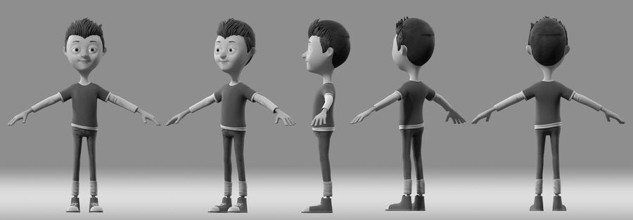 cartoon jongen kind kind royalty-free 3d model - Preview no. 3