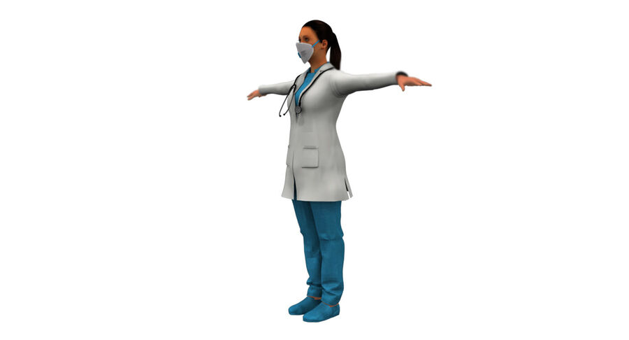 印度女孩医生3D模型 royalty-free 3d model - Preview no. 9