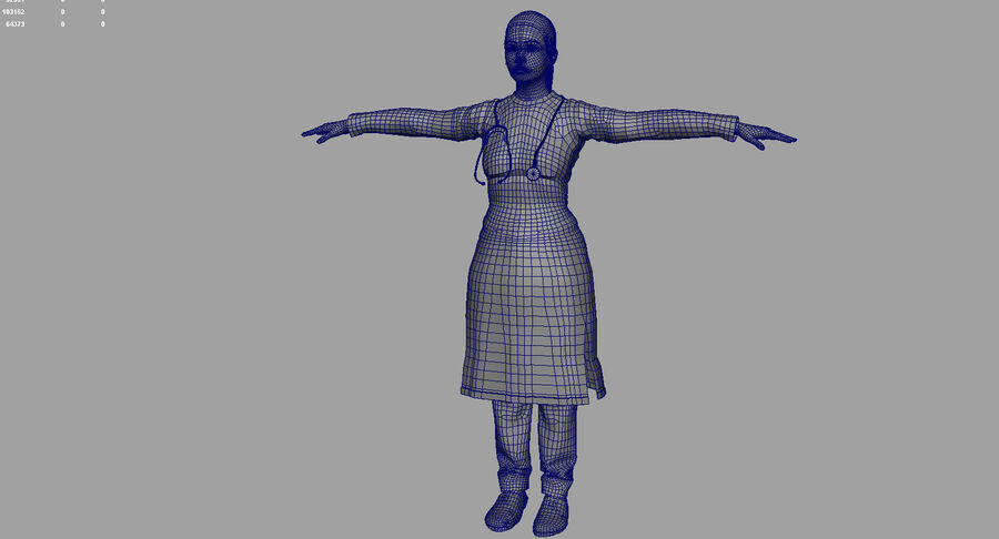 印度女孩医生3D模型 royalty-free 3d model - Preview no. 27