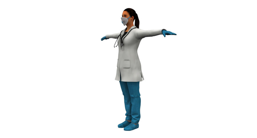 印度女孩医生3D模型 royalty-free 3d model - Preview no. 8