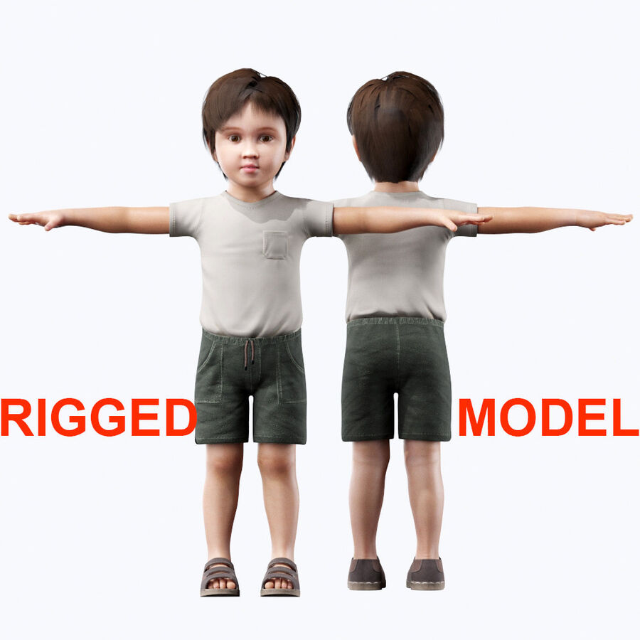 Kind Junge royalty-free 3d model - Preview no. 2