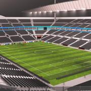 Soccer Stadium Interior and Exterior Night 3d model