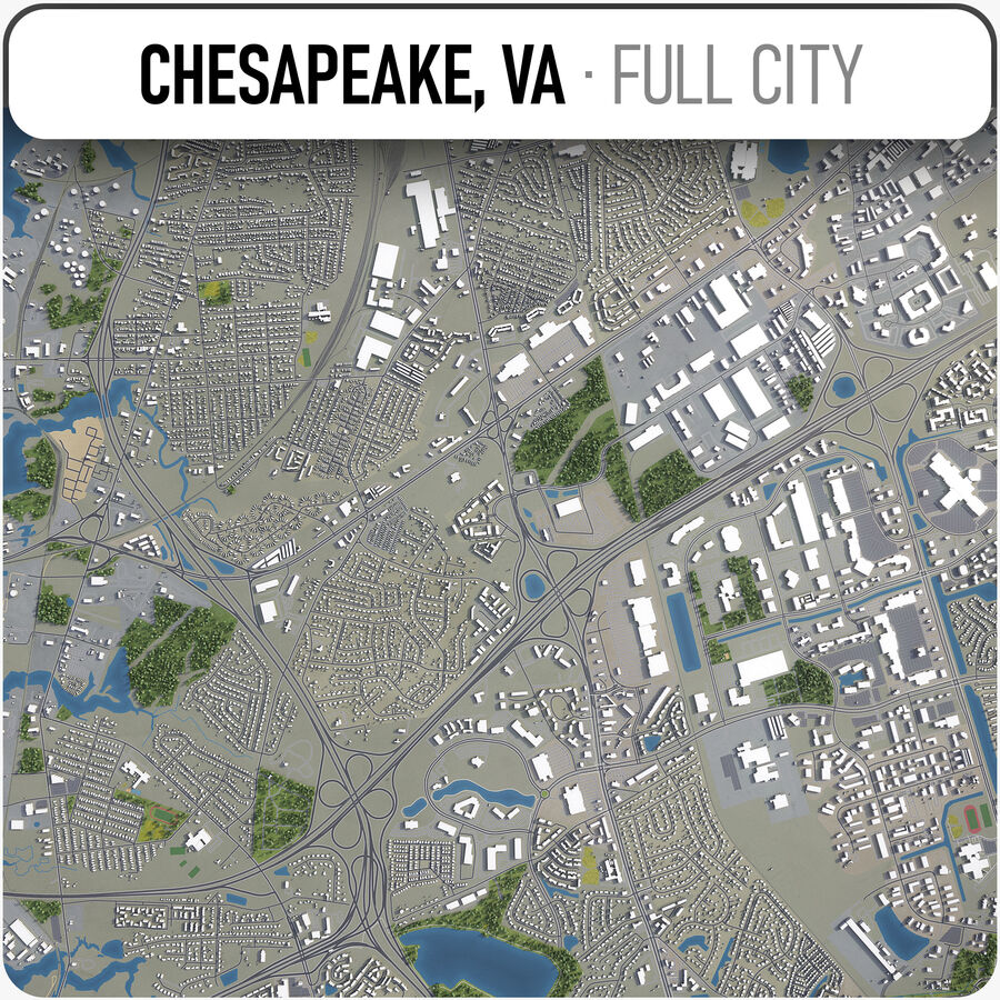 Chesapeake - Stadt und Umgebung royalty-free 3d model - Preview no. 1