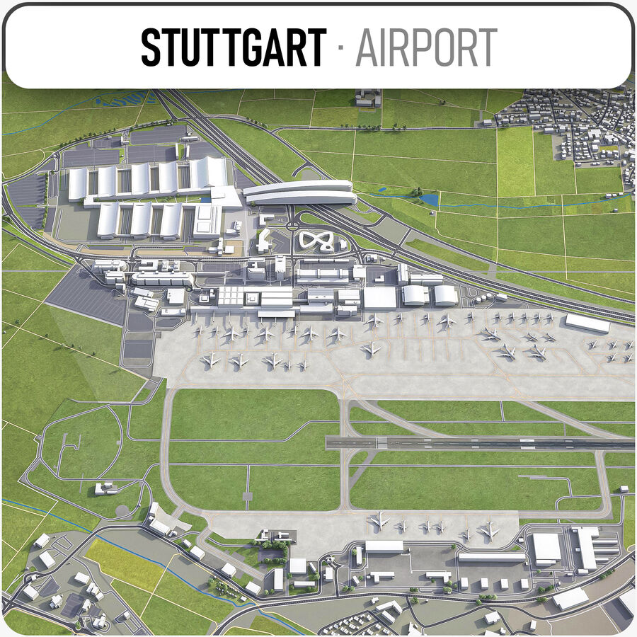 Stuttgart Airport   STR 20D Model $20   .unitypackage .skp .max ...