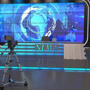 Estudio de TV con cámaras y luz modelo 3d