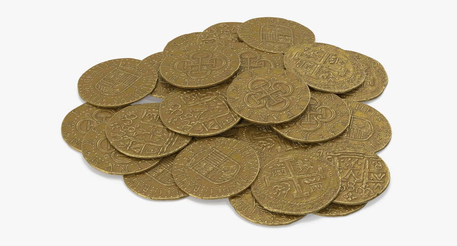 Goldmünzen Haufen royalty-free 3d model - Preview no. 5