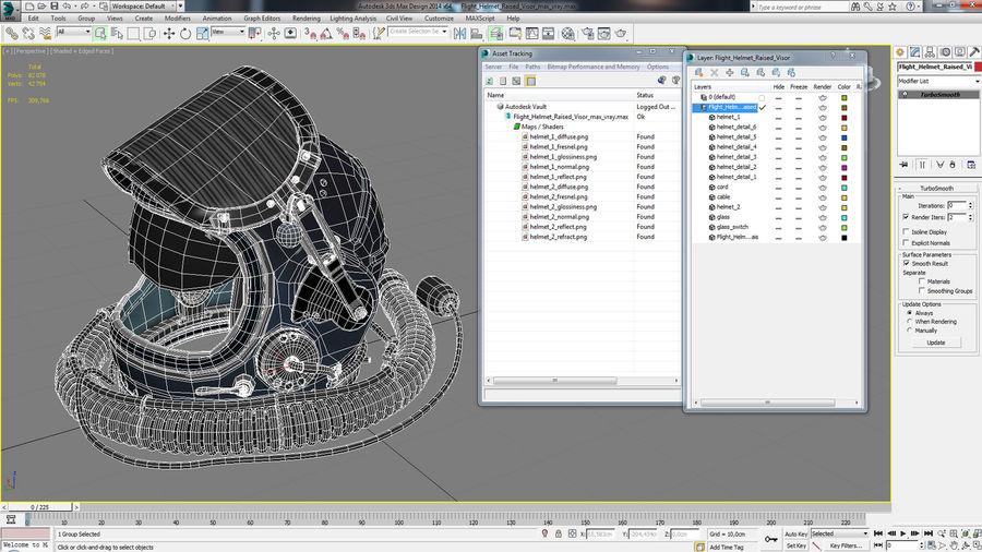 Flight Helmet Raised Visor royalty-free 3d model - Preview no. 14