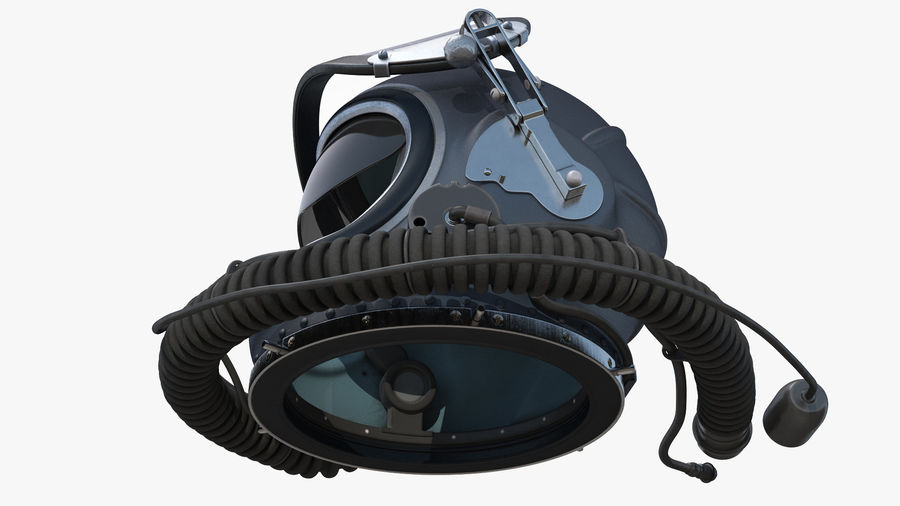 Flight Helmet Raised Visor royalty-free 3d model - Preview no. 7