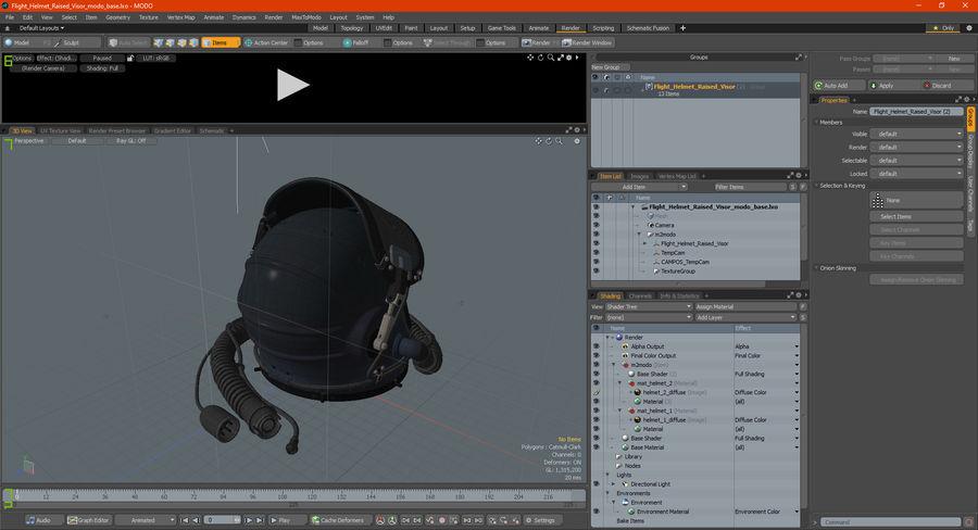 Flight Helmet Raised Visor royalty-free 3d model - Preview no. 22