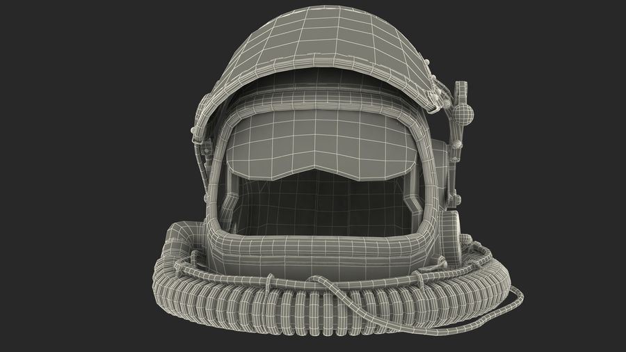 Flight Helmet Raised Visor royalty-free 3d model - Preview no. 15