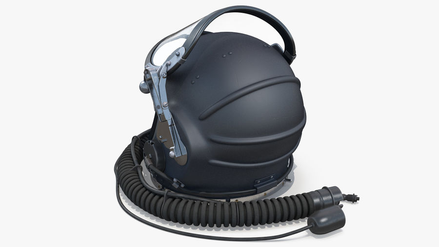 Flight Helmet Raised Visor royalty-free 3d model - Preview no. 6