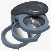 Lente d'ingrandimento pieghevole a tripla lente 3d model
