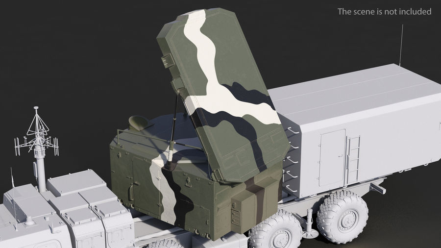Camouflage S300 Flap Lid B Missile Guidance Radar Rigged royalty-free 3d model - Preview no. 3
