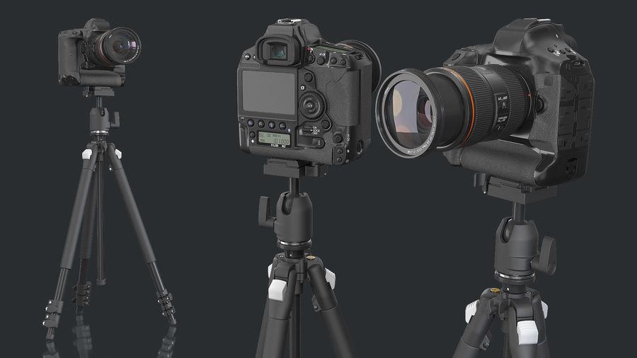 DSLR-kamera med zoom på stativ royalty-free 3d model - Preview no. 3