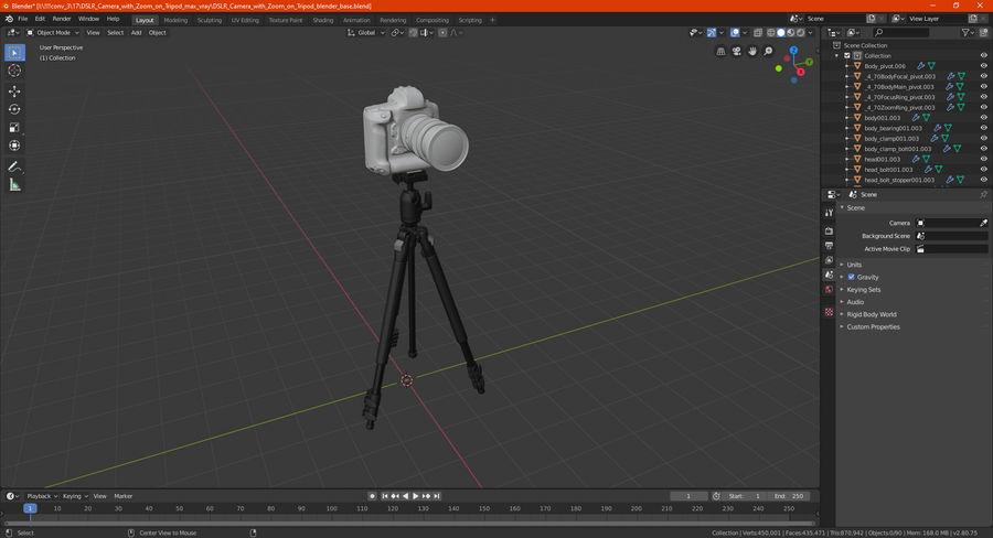 DSLR-kamera med zoom på stativ royalty-free 3d model - Preview no. 34