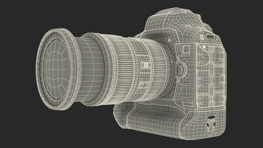 DSLR-kamera med zoom på stativ royalty-free 3d model - Preview no. 29