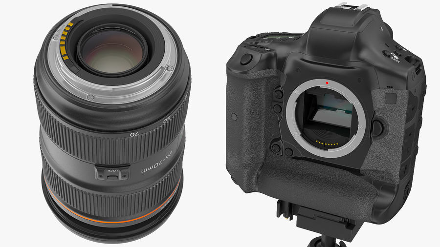 DSLR-kamera med zoom på stativ royalty-free 3d model - Preview no. 12