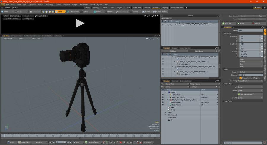 DSLR-kamera med zoom på stativ royalty-free 3d model - Preview no. 35
