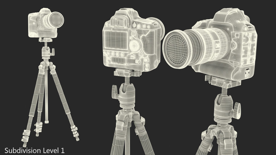 DSLR-kamera med zoom på stativ royalty-free 3d model - Preview no. 22