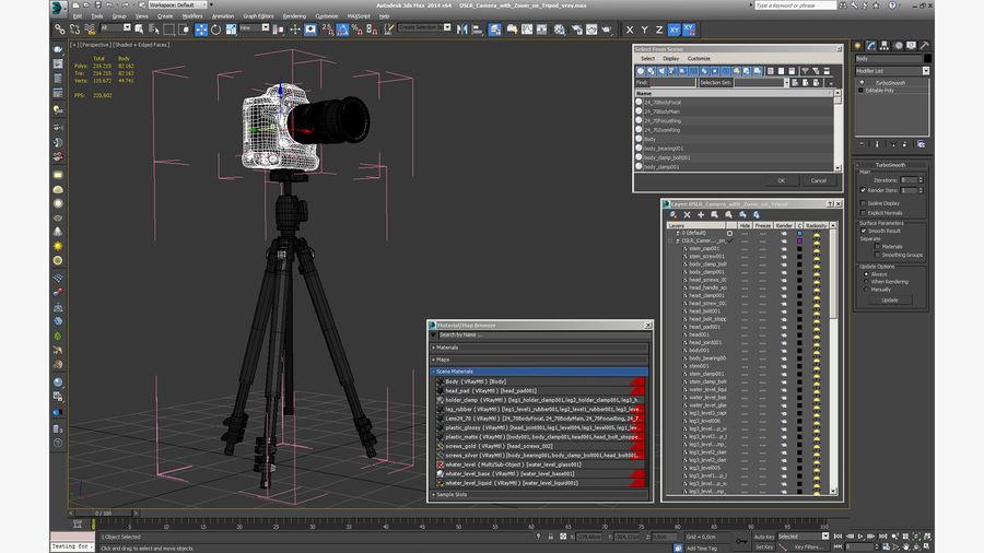 DSLR-kamera med zoom på stativ royalty-free 3d model - Preview no. 25