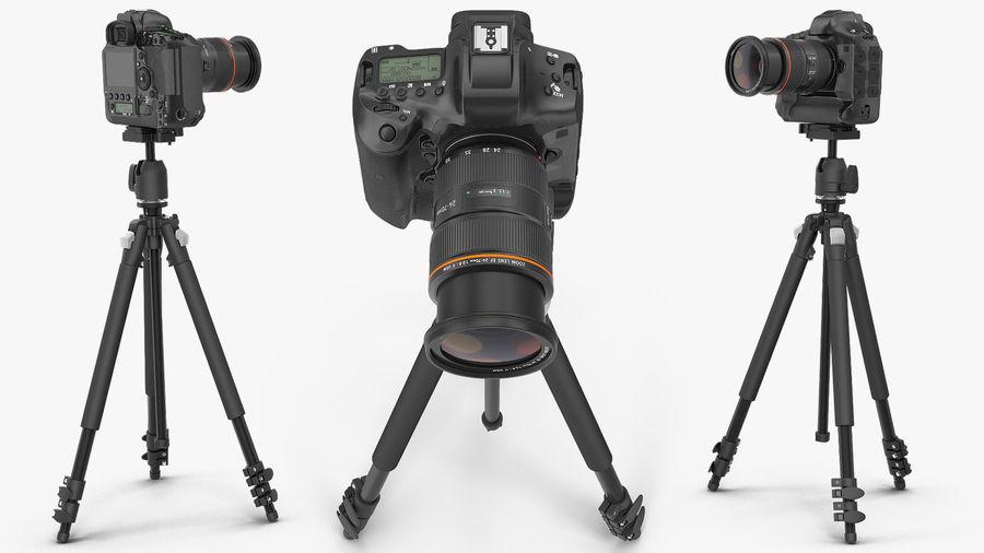 DSLR-kamera med zoom på stativ royalty-free 3d model - Preview no. 6