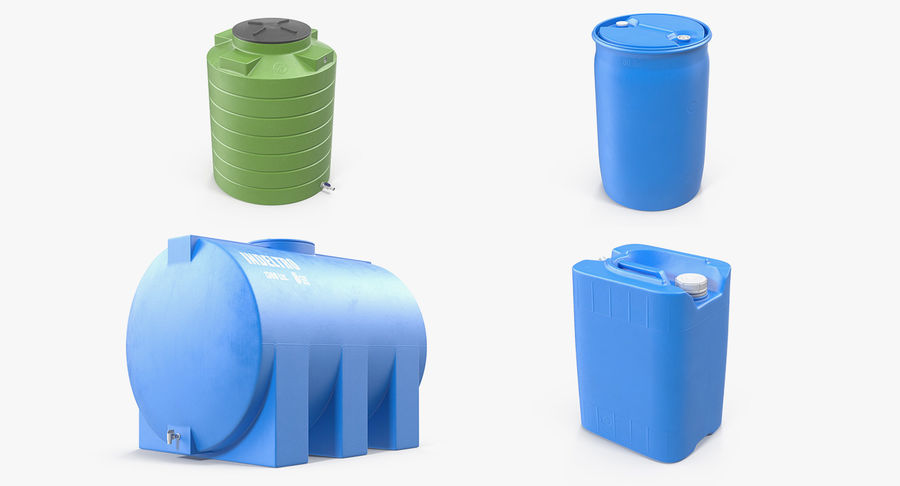 プラスチック製の貯水タンクコレクション royalty-free 3d model - Preview no. 2