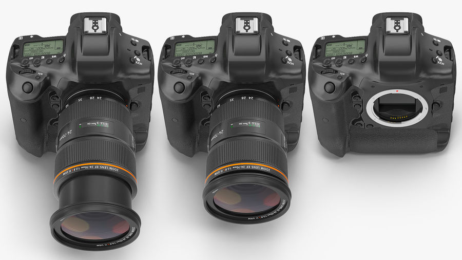 Digitale Spiegelreflexkamera mit Zoom royalty-free 3d model - Preview no. 9