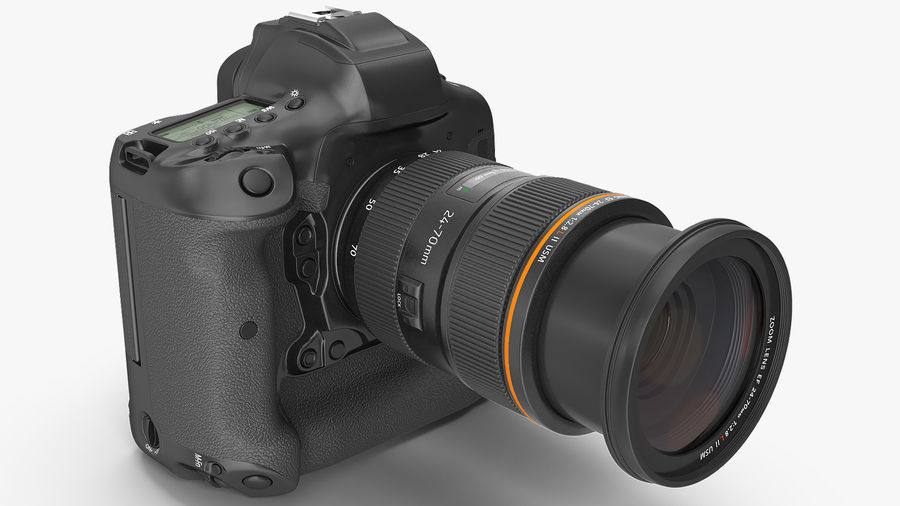 Digitale Spiegelreflexkamera mit Zoom royalty-free 3d model - Preview no. 6