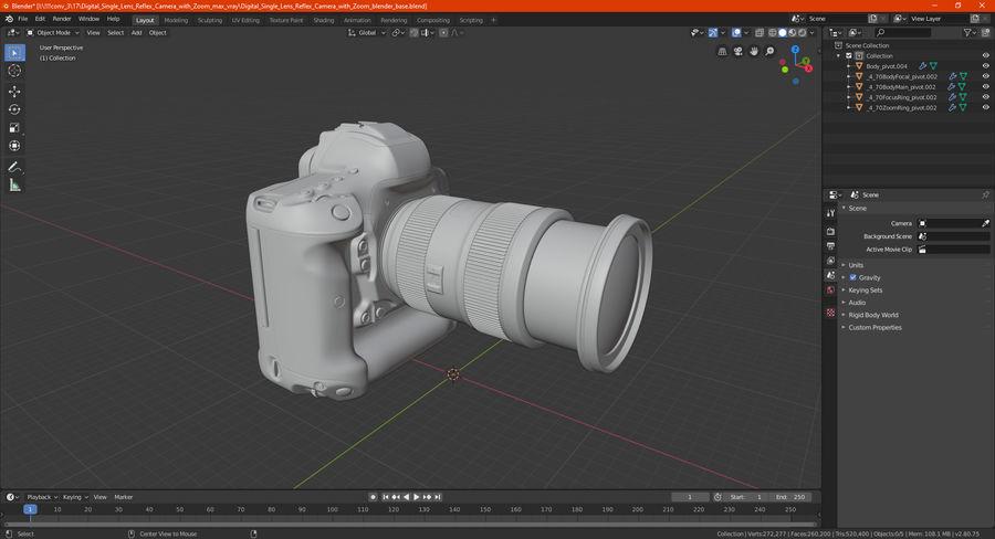 Digitale Spiegelreflexkamera mit Zoom royalty-free 3d model - Preview no. 33