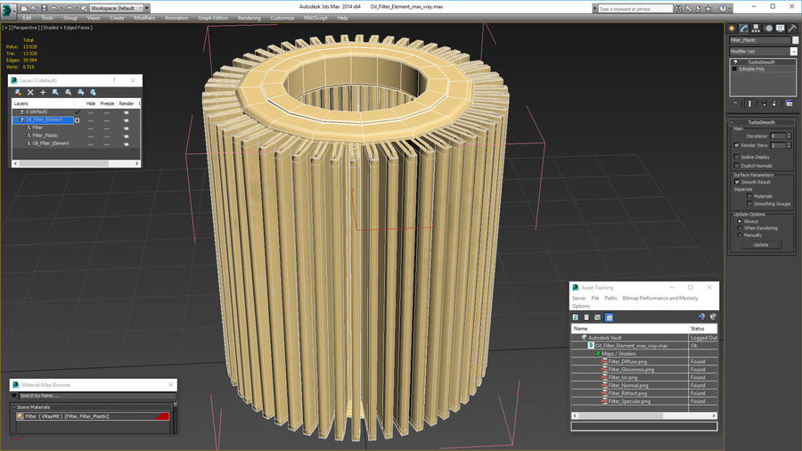 Oil Filter Element royalty-free 3d model - Preview no. 15