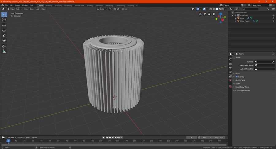 Oil Filter Element royalty-free 3d model - Preview no. 18